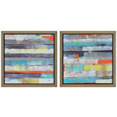 "Set of 2 Metro 22"" Square Contemporary Framed Wall Art"