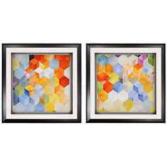 "Set of 2 Cubitz 22"" Square Contemporary Framed Wall Art"