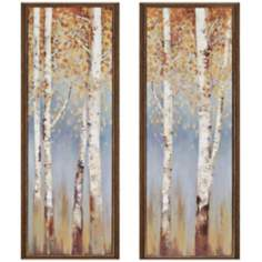 "Set of 2 Birch Trees 38"" High Framed Wall Art"