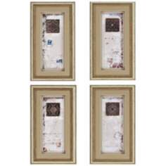 "Set of 4 Illusion Tiles 23"" High Framed Wall Art"