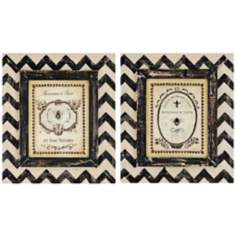 "Set of 2 Bees 23"" High Chevron Framed Wall Arts"