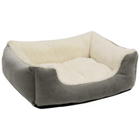 "Grey 24"" Wide Rectangular Bumper Medium Pet Bed"