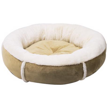 "Wheat 24"" Wide Round Bumper Medium Pet Bed"