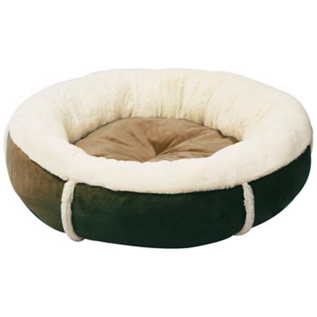 "Brown 16"" Wide Round Bumper Small Pet Bed"