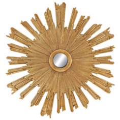 "Golden Sunburst 52"" Round Beveled Wall Mirror"