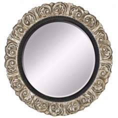 "Ornate Silver 42"" Round Wall Mirror"