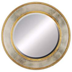 "Contempo Gold and Silver 34"" Round Beveled Wall Mirror"