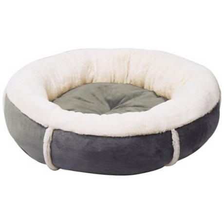 "Grey 28"" Wide Round Bumper Large Pet Bed"