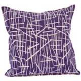 "Aubergine Purple Stix 20"" Square Down Throw Pillow"