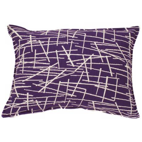 "Aubergine Purple Stix 20"" Wide Down Throw Pillow"