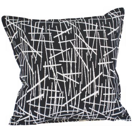 "Black Stix 20"" Square Down Throw Pillow"