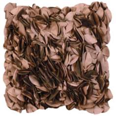 "Ruffled Chocolate Tulip 18"" Square Down Throw Pillow"