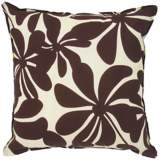 "Brown Floral Indoor - Outdoor 20"" Square Throw Pillow"