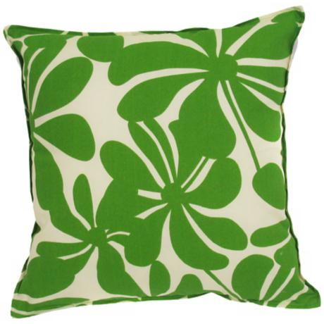 "Green Floral Indoor - Outdoor 20"" Square Throw Pillow"