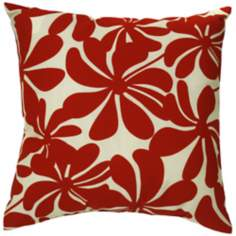 "Red Floral Indoor - Outdoor 20"" Square Throw Pillow"