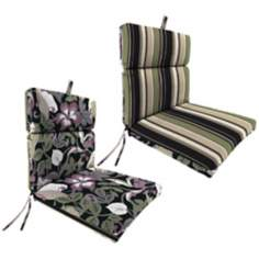 "Black Tan Grape French Edge 21"" Outdoor Chair Cushion"