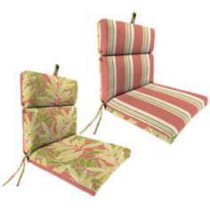 "Coral Green Tan French Edge 21"" Outdoor Chair Cushion"
