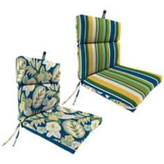 "Light Blue and Green French 21"" Outdoor Chair Cushion"