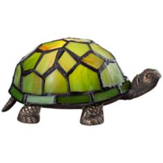 Tiffany Style LED Green Shell Turtle Accent Lamp