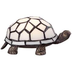 Tiffany Style LED White Shell Turtle Accent Lamp