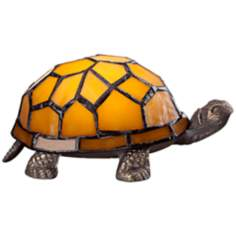 Tiffany Style LED Amber Shell Turtle Accent Lamp