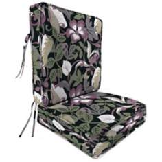 Black Tan Grape Boxed Attached Outdoor Seat Cushion