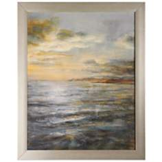 "Serene Sea III 32"" High Brushed Acrylic Wall Art"