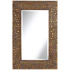 "Textured Relief 36"" High Bronze Wall Mirror"