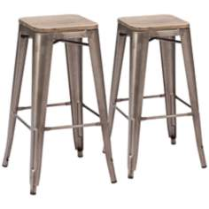 Zuo Set of 2 Marius Rustic Wood Bar Chairs