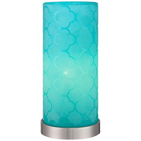 Babette Blue Glass Cylinder Accent Lamp