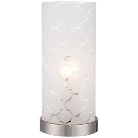 Babette White Glass Cylinder Accent Lamp