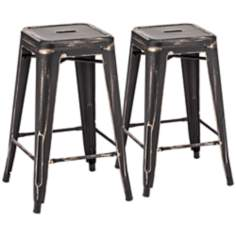 Zuo Marius Set of 2 Antique Black Counter Chairs