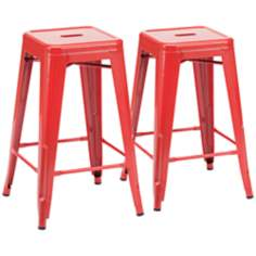 Set of 2 Zuo Marius Red Counter Chairs