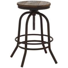 Zuo Twin Peaks Distressed Wood Counter Stool