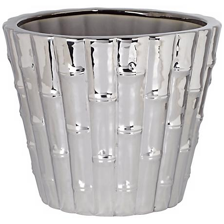 "Chrome Bamboo 8 1/2"" High Indoor Ceramic Pot"