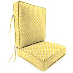 Yellow and Cream Attached Outdoor Seat Cushion