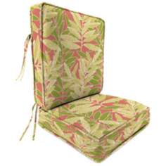Coral Green and Tan Attached Outdoor Seat Cushion