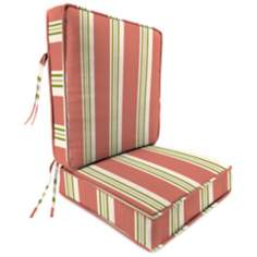 Coral Green and Tan II Attached Outdoor Seat Cushion