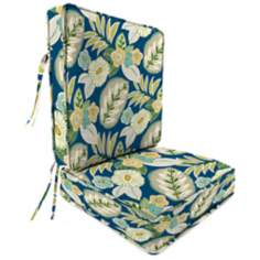 Light Blue and Green Attached Outdoor Seat Cushion