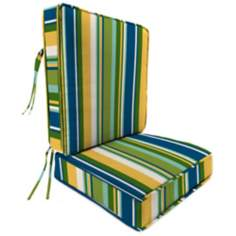 Light Blue and Green II Attached Outdoor Seat Cushion