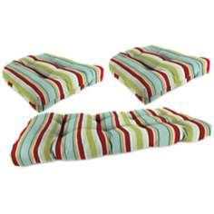 Set of 3 Kiwi Red and Blue Outdoor Wicker Seat Cushions