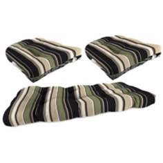 Set of 3 Black Tan Grape Outdoor Wicker Seat Cushions