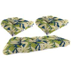 Set of 3 Yellow and Cream Outdoor Wicker Seat Cushions