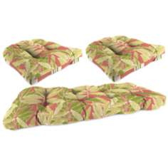 Set of 3 Coral Green Tan Outdoor Wicker Seat Cushions