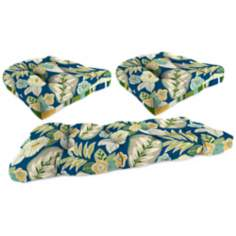 Set of 3 Light Blue Green Outdoor Wicker Seat Cushions