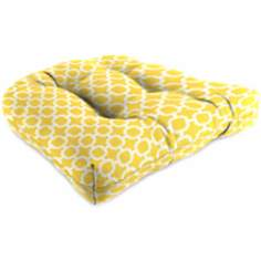 Set of 2 Yellow and Cream Outdoor Wicker Seat Cushions