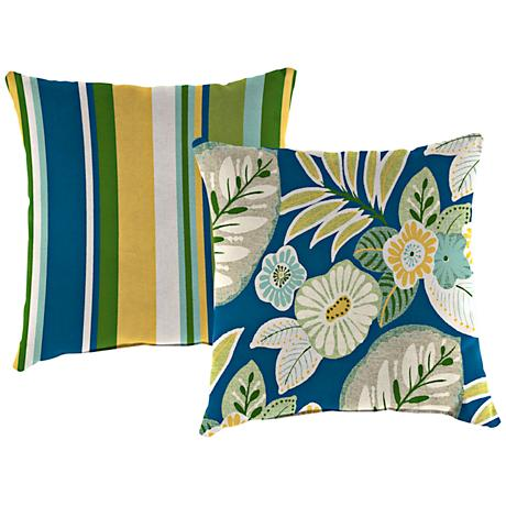 "Light Blue and Green 14"" Outdoor Edge Accent Pillow"