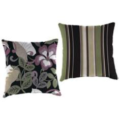 "Black Tan and Grape 16"" Various Edge Outdoor Accent Pillow"