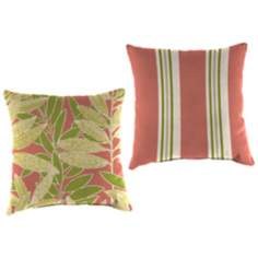 "Light Pink and Green 16"" Outdoor Edge Accent Pillow"