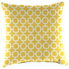 "Yellow and Cream 16"" Various Edge Outdoor Accent Pillow"